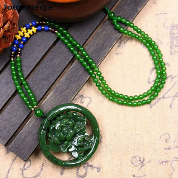 Wholesale Fine Green Natural Stone Pendants Peony Pendant Necklace Lucky For Women Gift Sweater Chain Necklace Fashion Jewelry