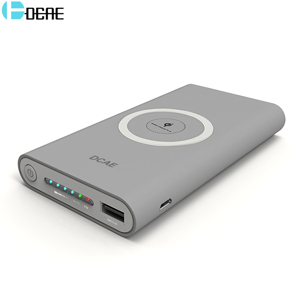 DCAE Qi Wireless Charger Power Bank for iPhone X 8 Plus Samsung S9 S8 Note 8