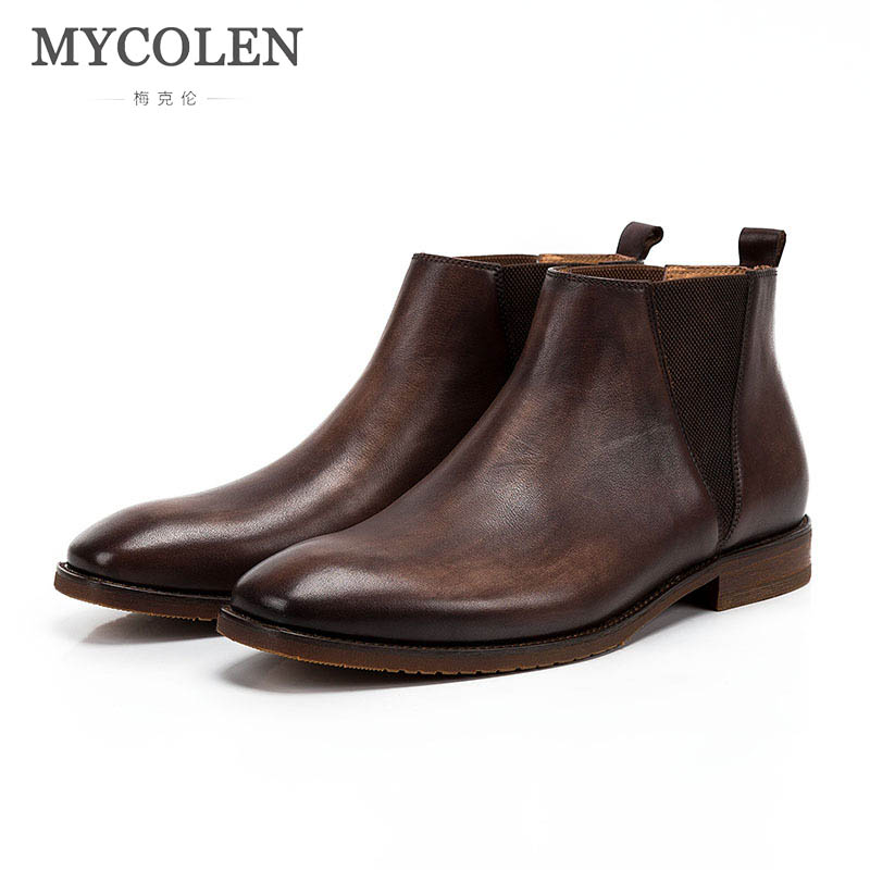 MYCOLEN New The Chelsea Boot Men Suede Boots Luxury Brand Low Heel Leather Ankle Boots Vintage Sewing Thread Britain Boots mycolen men boots genuine suede comfort leather sewing minimalist design black thread men ankle boots leather male shoes adult