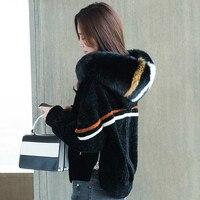 2017 г. новые зимние Для женщин пальто из стриженого длинный Лисий меховой воротник Шерстяные пиджаки бренд Дизайн качество одежды P3615