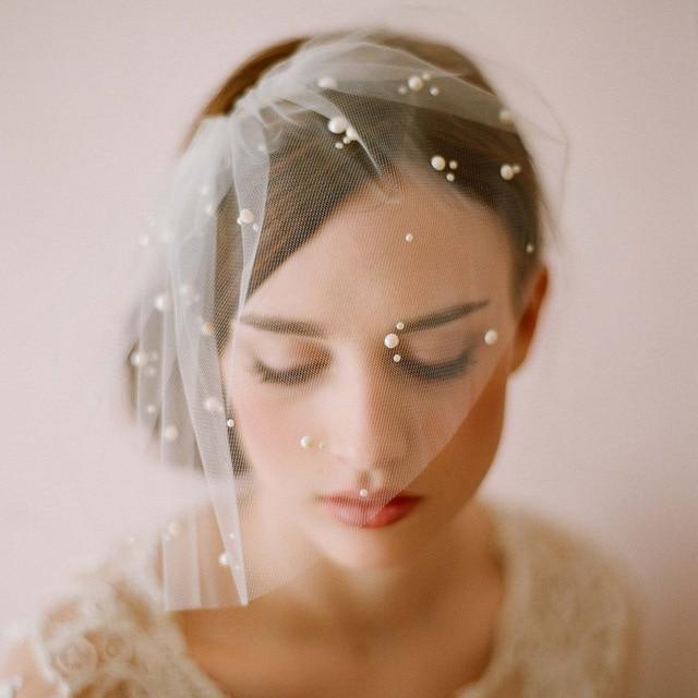 Wedding Accessories 2016 White Wedding Veils With Pearls Wedding Hat Veils High Quality Wedding Veil