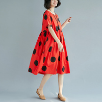 2018 summer new big dot dresses large size polka dot dress cotton and linen printing female high waist swing A line dresses