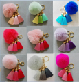 hot! Super Round Metal Key Chain Rabbit Hair Bulb Fur Plush Pom Poms Ball Bag Car Ornaments Pendant Key Ring Charm Accessories