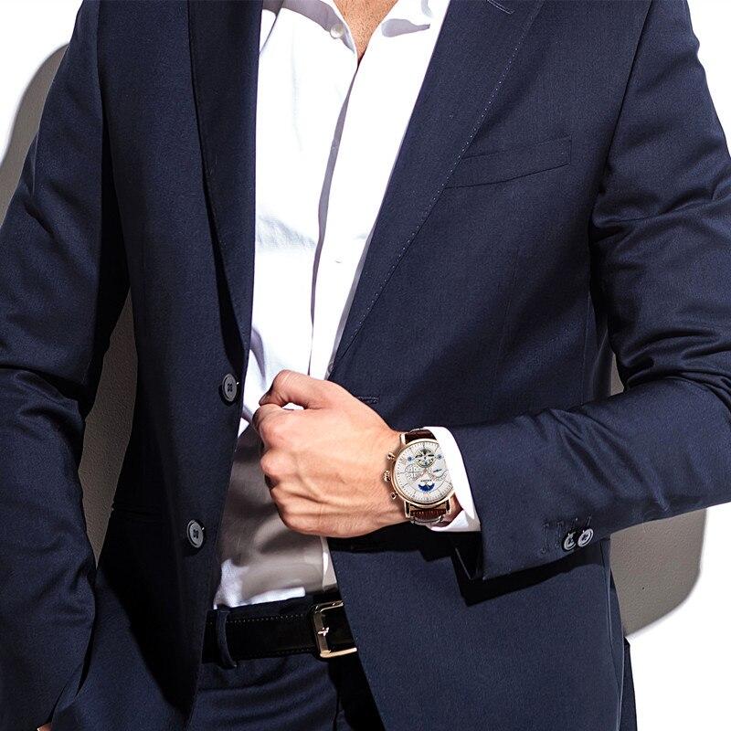 BINSSAW Reloj hommes Montre mécanique automatique Tourbillon affaires en cuir Montre Homme Phase de lune sport montres Zegarek Meski - 6