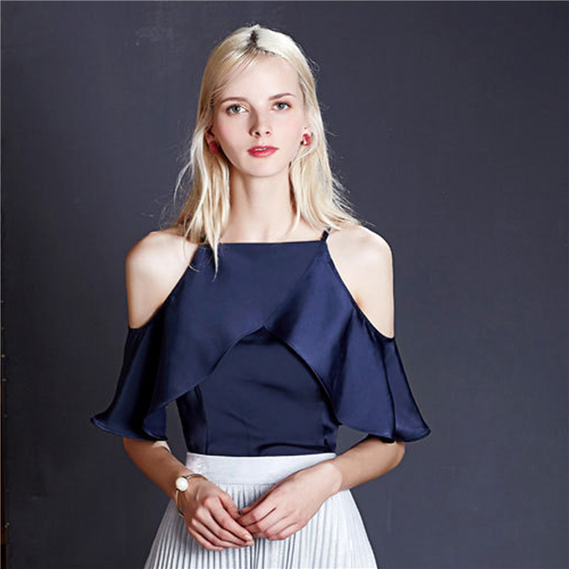 9f8a92159f5f5f Off Shoulder Top Butterfly Sleeve 2019 Summer Women Tops Elegant Slash Neck  Strap Short Sleeve Zipper Satin Blouse White Blue