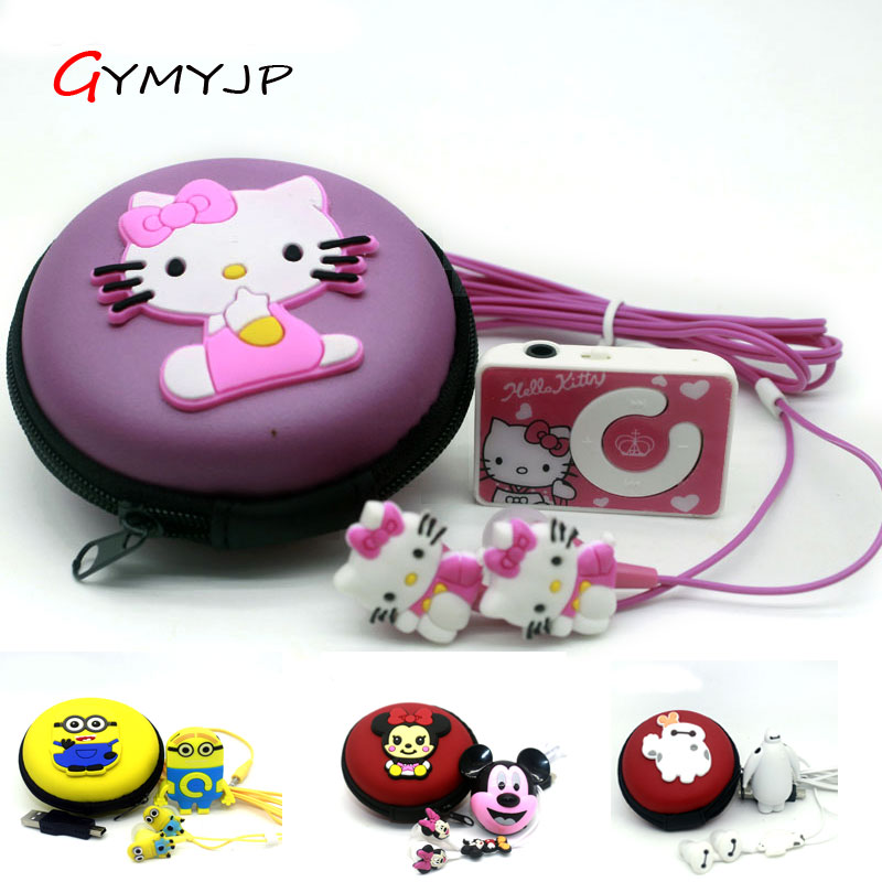 new mini clip hello Kitty MP3 player support TF card with USB Cable Earphone Crystal  Box Free shipping Retail and wholesale(China)
