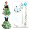 Rainha da neve Cosplay Traje Vestido de princesa Vestido Da Menina crianças Crianças bebê vestidos fantasia vestido De Menina infantis Adicionar Conjunto Coroa