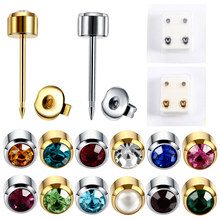 Pair Fashion Steel Sterile Ear Piercing Silver&Gold Screw Back Earrings Stud Ear Cartilage Tragus Piercing For Earring Gun(China)