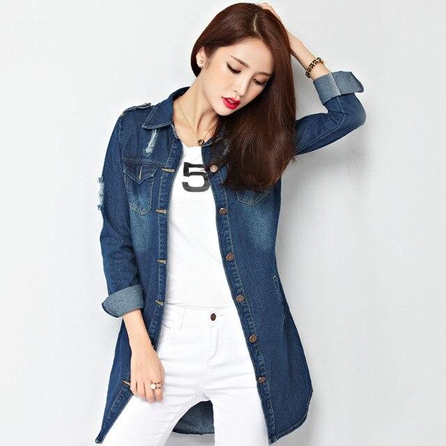 Casual Jeans Jackets 2016 Women New Spring Fashion Hole Frayed Long Sleeve Single Breasted Pockets Jacket Denim Coats S-XXL