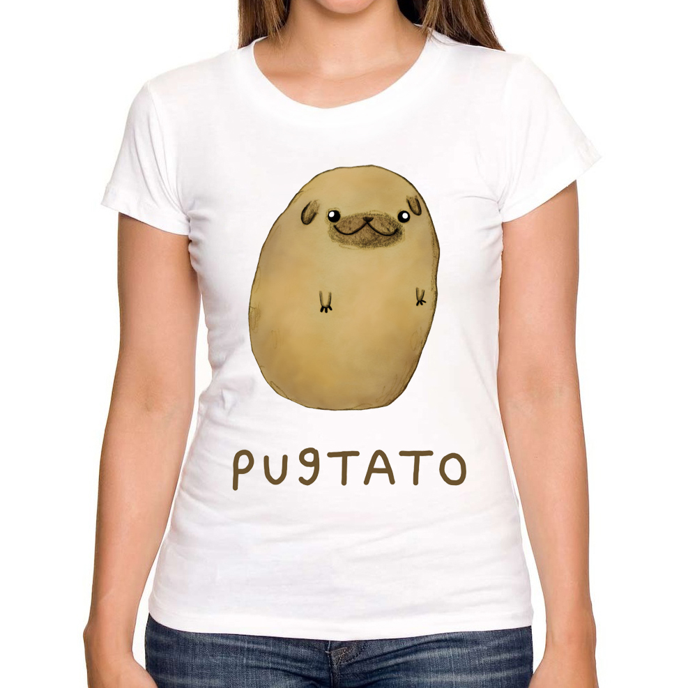 2017 newest fashion pugtato printed women t shirt pug for Designer tee shirts womens