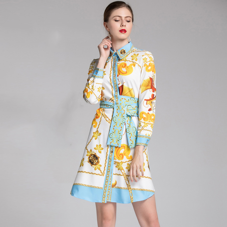 AELESEEN High Quality Luxury Fashion Dress 2019 Spring Summer Long Sleeve Gold Print Vintage Bow Shirt Dress Party Vestidos-in Dresses from Women's Clothing    2