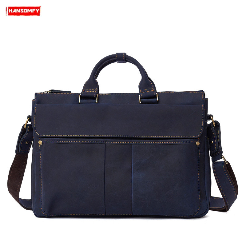 New Genuine Leather Men's Handbags Business Laptop Briefcase Retro Crazy Horse Leather Male Crossbody Bags Shoulder Travel Bags