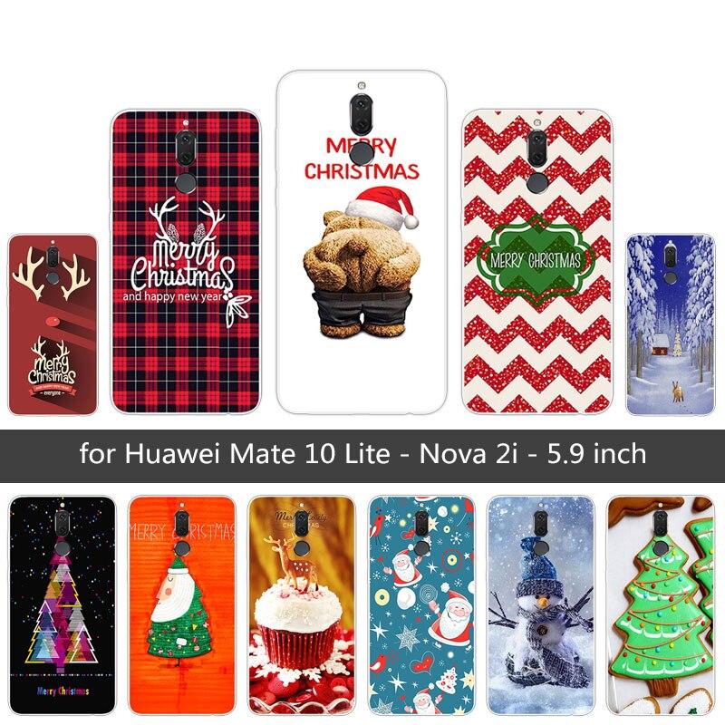 For Huawei Mate 10 Lite / Maimang6 Cover Silicone Soft TPU Merry Christmas Phone Case For Huawei Mate 10 Lite Nova 2I Cases 5.9