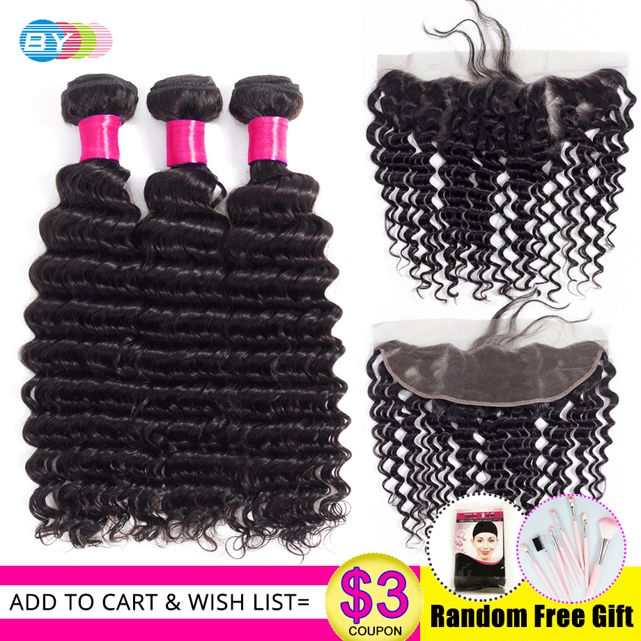 BY Deep Wave Brazilian Hair Bundles with Frontal Remy Hair 3 Bundles with Frontal Human Hair