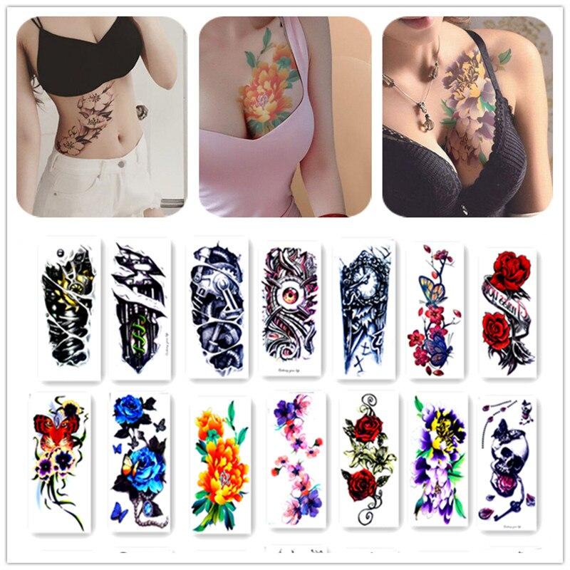 20X10cm Long Colorful High Solution Body Art Flowers Circle Design Temporary Fake Flash Tatoo Sticker Taty
