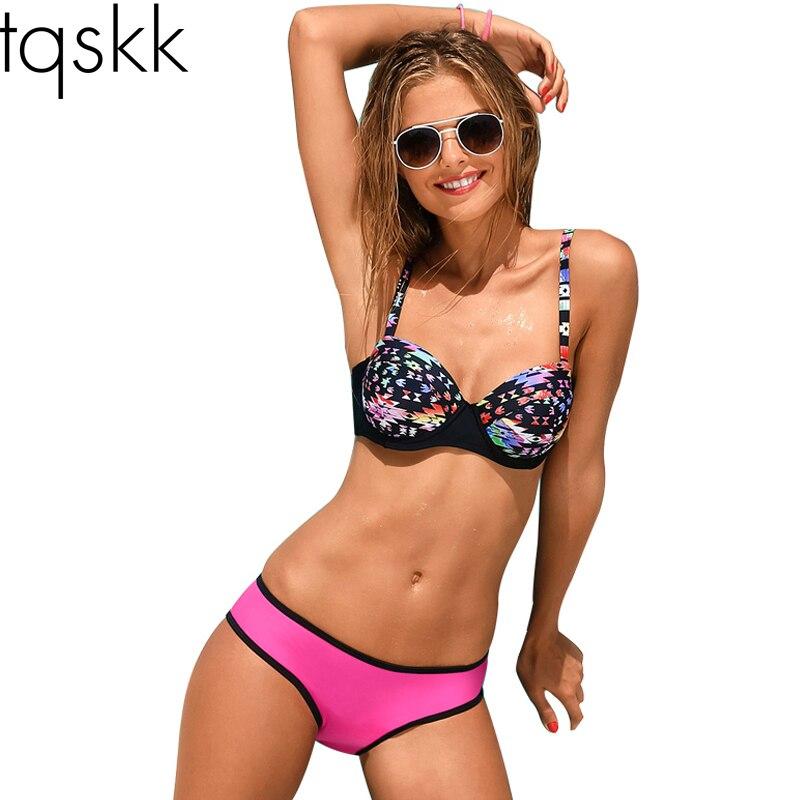 Tqskk 2017 nueva sexy bikini push up mujeres del traje de baño traje de baño ret