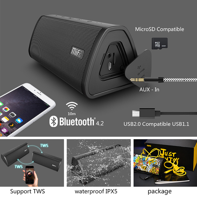 Mifa portable bluetooth speaker portable wireless loudspeaker sound system 10w stereo music space waterproof outdoor speaker