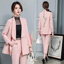 2018 spring autumn new fashion temperament women's leisure two-piece sets flower embroidery female party sets blazer pants suit