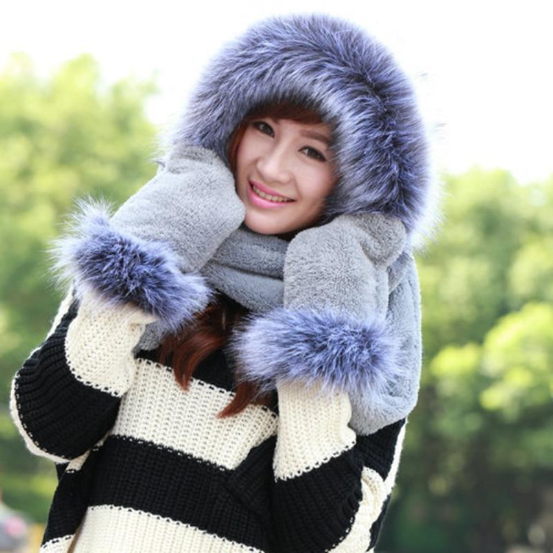 SH004 New Women Winter Hats Solid Plain Ladies Warm Faux Fur Hats Female Thick Winter Sets 3 In 1 Women Scarf Hat Gloves Sets