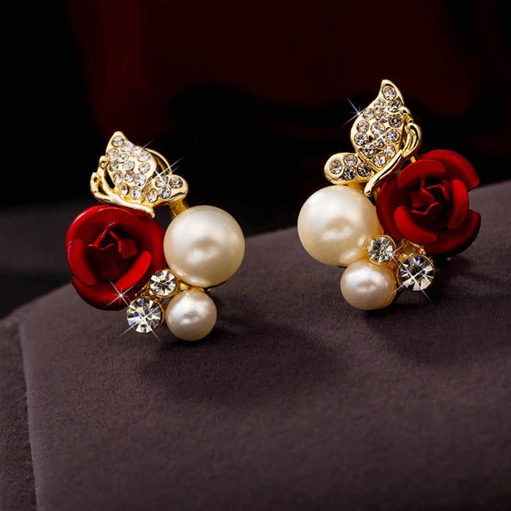Stylish 1 Pair Red Rose Flower Earrings Imitation Jewelry Pearl Earrings Bijoux Plated Crystal Beautiful Earring Oorbellen Sets