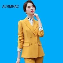 Women suits Slim spring Solid color jacket Pants 2-piece set OL Formal Business pants Woman 369