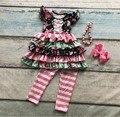 Капри весна лето новорожденных девочек оборками цветочные рукавов одежда хлопок бутик одежды полосатый с соответствующими лук и ожерелье
