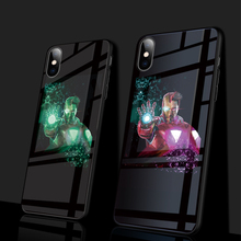Luxury Ironman Marvel Comics Patterned Luminous Tempered Glass Phone Case For iPhone XS MAX XR 8 7 6 6s Plus Cover Capa