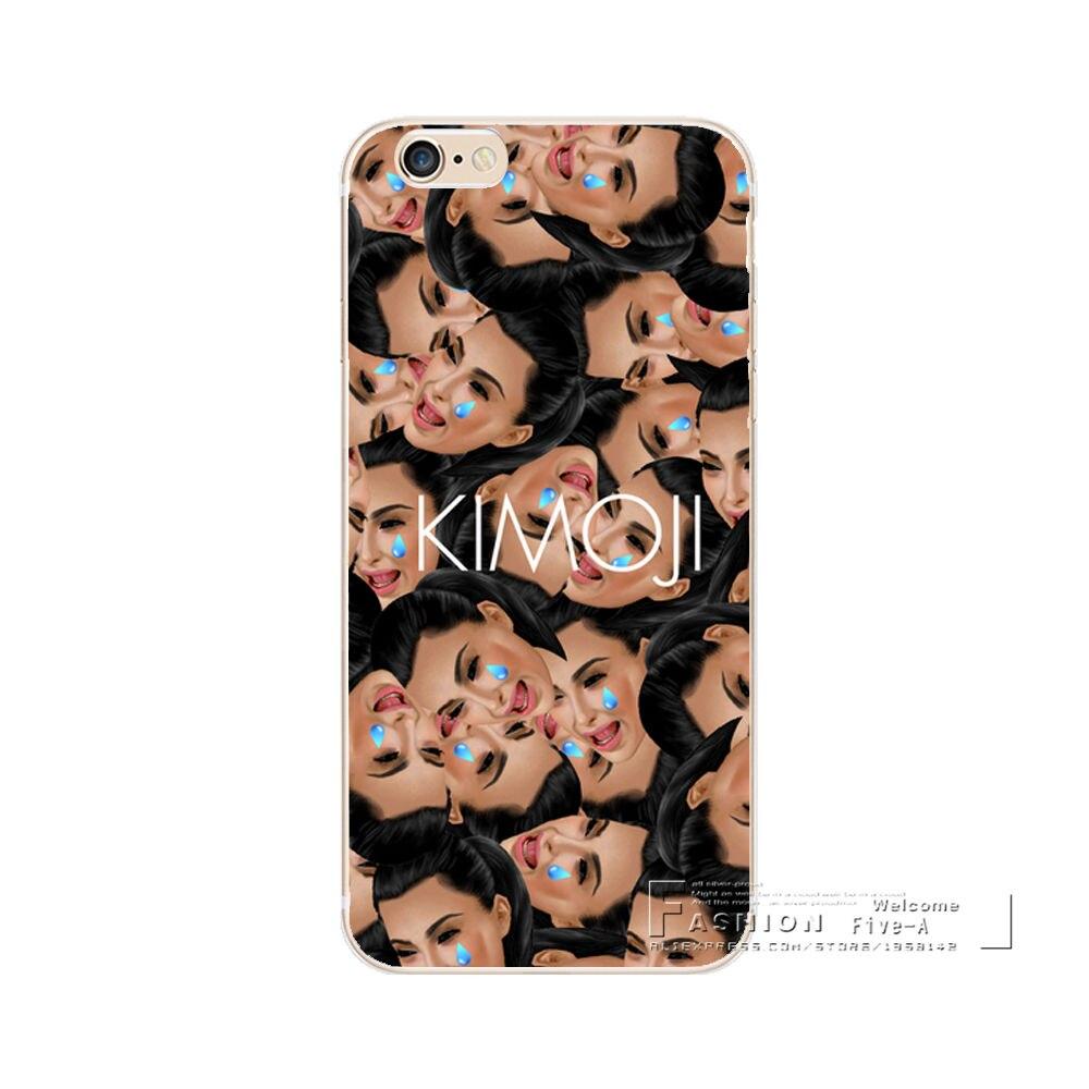 Kim Kardashian Funny Face Kimoji Soft Silicone Case For Apple iphone 6 6S 7 8 Plus X 5 5S SE 5C TPU Phone Back Cover Coque