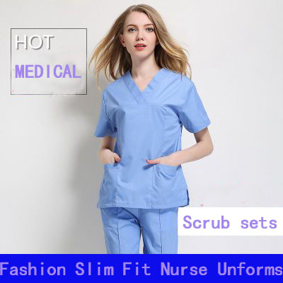 5306e749f86 Light Blue Short Sleeve Women/Men Medical Scrub Sets Hospital Doctors  Surgical Clothes Scrub Cloth Dental Clinic Nurse Uniform