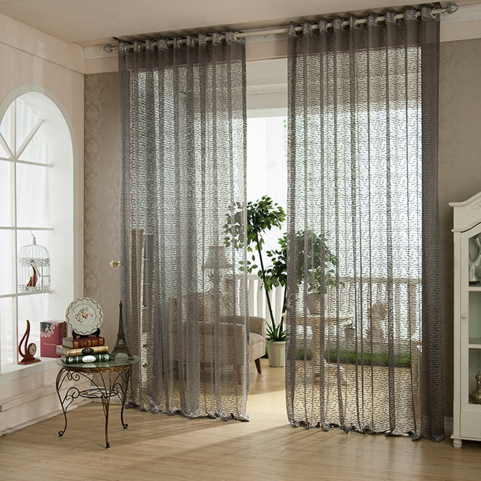 Exquisite Jacquard Grey Sheer Curtains For Living Room
