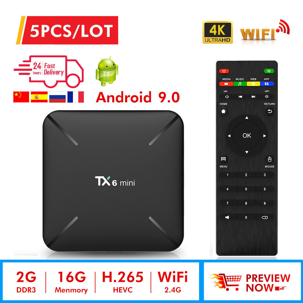 5pcs TX6 mini Smart TV Box android 9.0 Allwinner H6 2G+16G 2.4GHz WiFi Support 4K H.265 TV Receiver Netflix Set top Box TX6mini