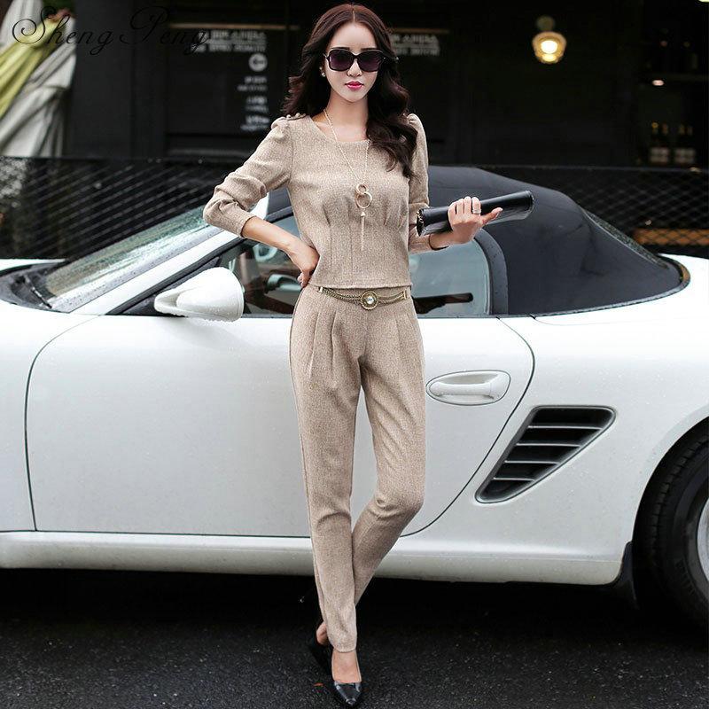 2018 New Autumn pantsuit women business casual clothing elegant ladies pant suits long sleeve solid color office suits CC030