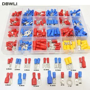 320Pc Assorted Full Insulated Electrical Wire Terminals Crimp Connector Spade Butt Ring Fork Set #8 #10 1/4 2.8mm 4.8mm 6.3mm(China)