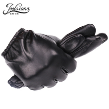 JOOLSCANA genuine leather gloves men fashion driving wrist gloves winter autumn made of  Italian imported natural sheepskin
