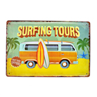 Surfing Tours Vintage Embossed Metal Tin Signs Home Bar Garage Pub Decorative Plates Beach Wall Stickers Retro Art Poster AT002