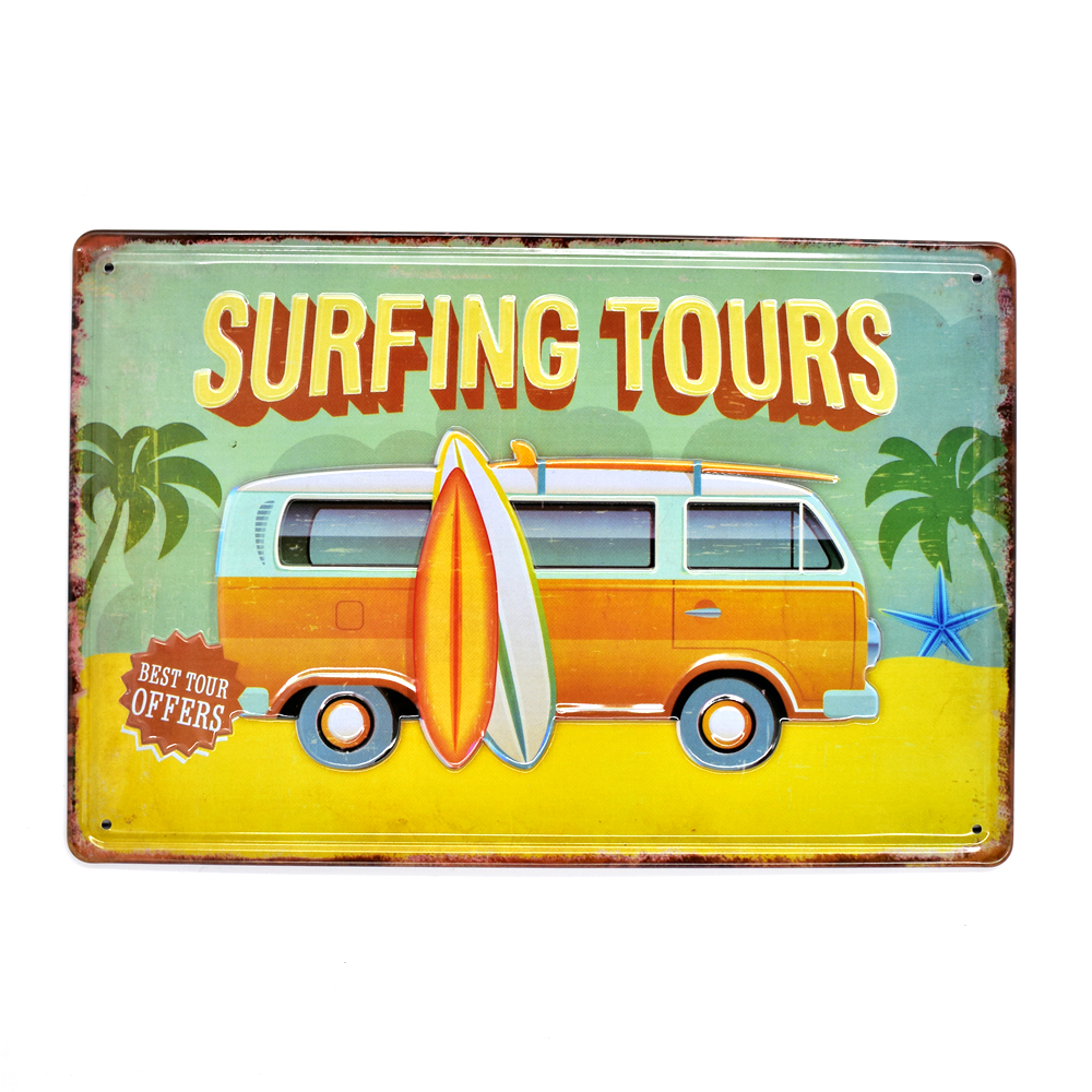 Surfing Tours Vintage Embossed Metal Tin Signs Home Bar Garage Pub ...