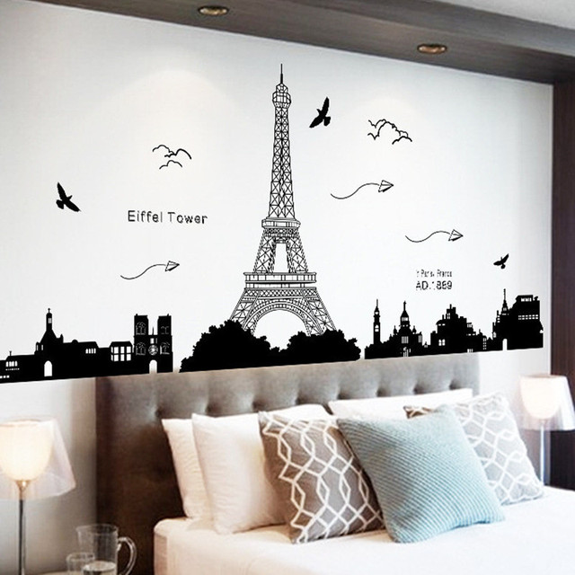 Fashion Black Paris Tower City Silhouette Wall Stickers Diy Bedroom ...