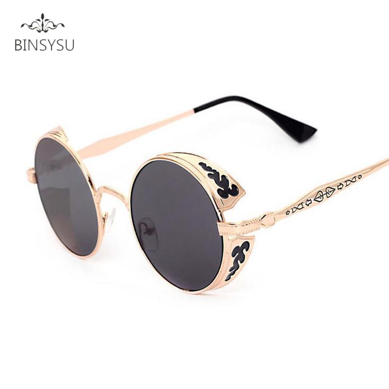 Rétro Steampunk lunettes de Soleil Femmes Hommes Vintage Ronde En Métal  Punk Miroir Gothique Lunettes de Soleil oculos de sol feminino 5ebcf0947483