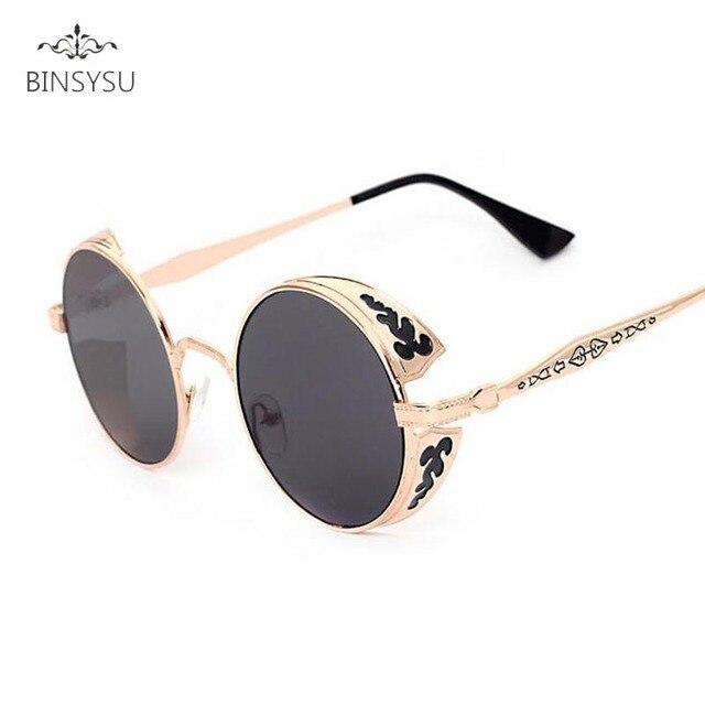 Rétro Steampunk lunettes de Soleil Femmes Hommes Vintage Ronde En Métal  Punk Miroir Gothique Lunettes de 2531cfa9ce01