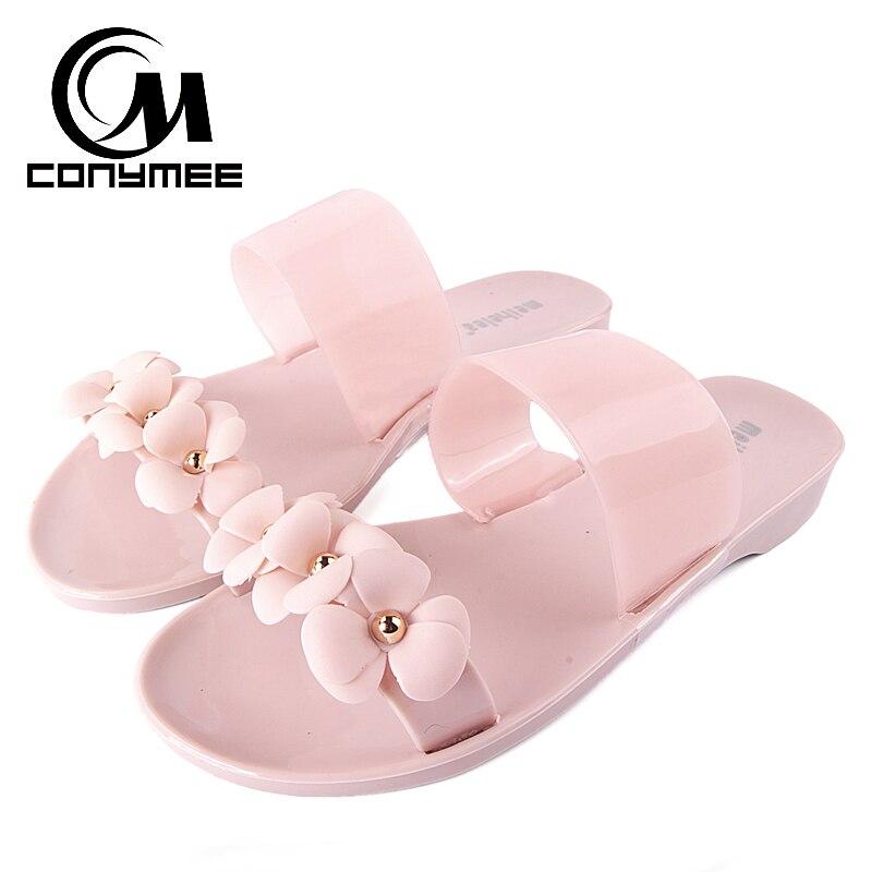 2018 Summer Beach Slippers Sandals Women Flower Flip Flops Big Size Jelly Shoes Girl Lady Sandal Flat Shoe Crystal Slipper diesel diesel di303emjer91