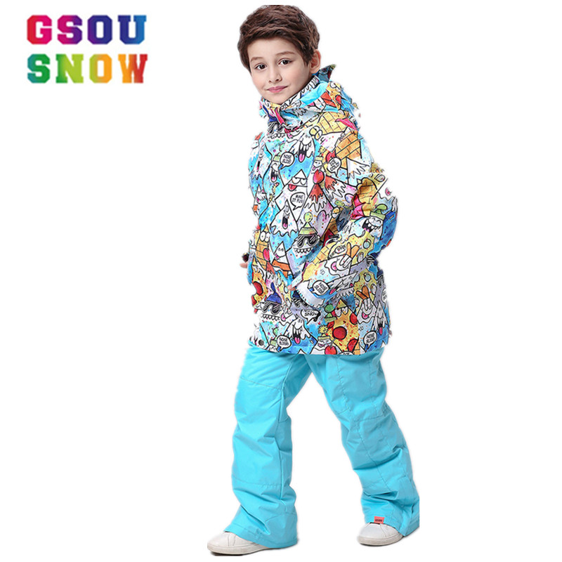 GSOU SNOW winter Outdoor Boys Kids windproof waterproof keep warm Ski suit Children Colorful Graffiti Cartoon Snowboard Jacket free shipping the new 2017 gsou snow ski suit man windproof and waterproof breathable double plate warm winter ski clothes