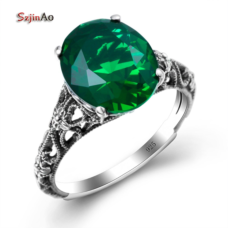 Szjinao Fashion Green Emerald Flower Rings For Women Genuine 925 Sterling Silver Rings For Anniversary Gift Vintage Jewelry szjinao cute genuine 100