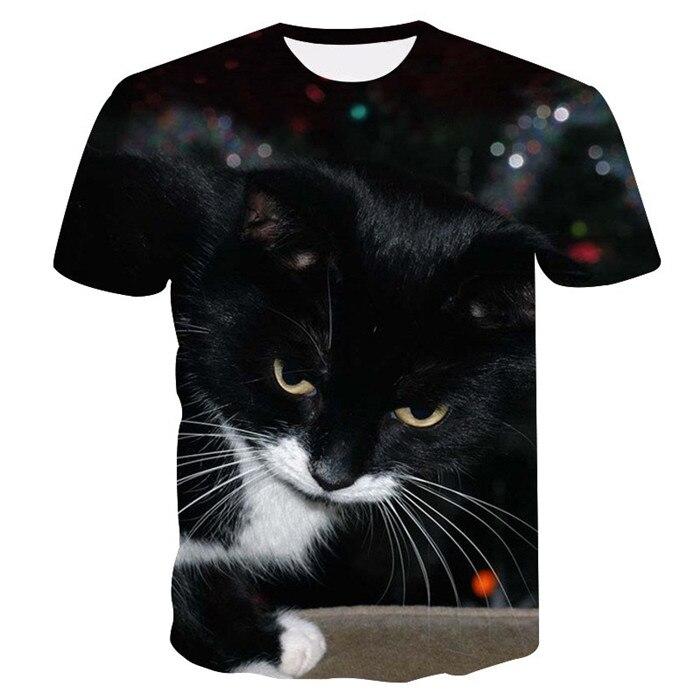 Новинка, футболка для мужчин/женщин, 3d принт, мяу, черный, белый, кот, хип-хоп, Мультяшные футболки, летние топы, футболки, модные 3d футболки, M-5XL - Цвет: txu-157