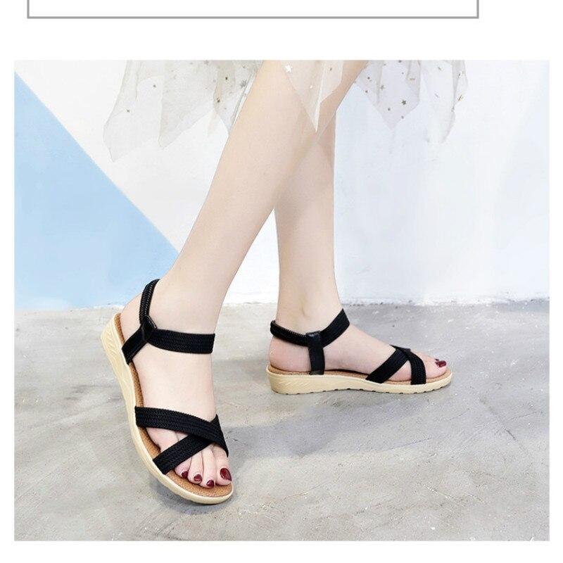 Sandals Elastic Wedges-Shoes Gladiator Women Peep-Toe Casual Fashion Woman