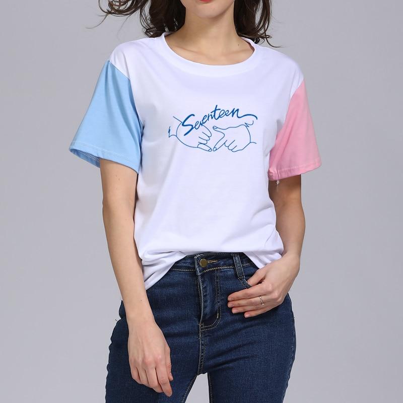 KPOP Korean Fashion Seventeen 2018 Summer Album Concert 17 Pure Cotton  Tshirt K-POP T Shirts Short