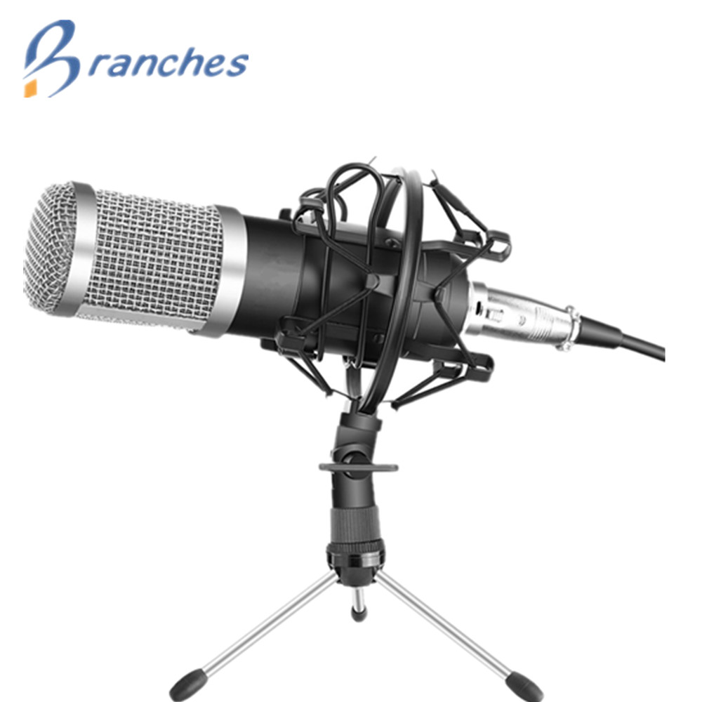BM800 Mikrofon condensador de grabación de sonido BM 800 micrófono con montaje de choque para la Radio Braodcasting cantando grabación KTV Karaoke