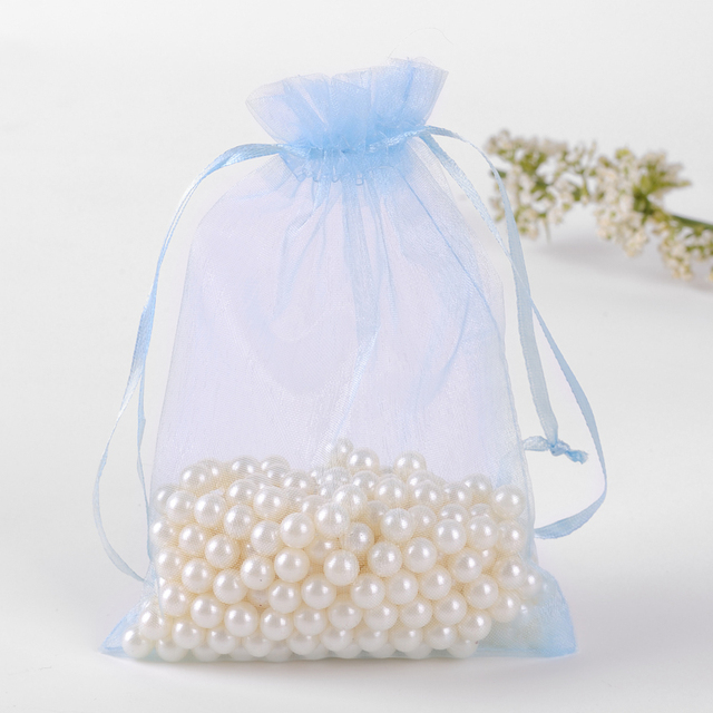 30x40cm Light Blue Gift Bags 50pcs Lot Drawstring Large Organza For Slippers Packaging Can