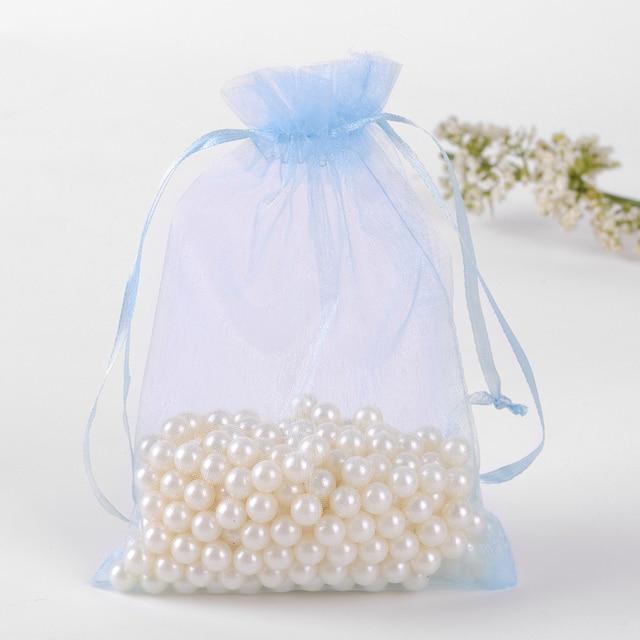 30x40cm Light Blue Gift Bags 50pcs/Lot Drawstring Large Organza ...