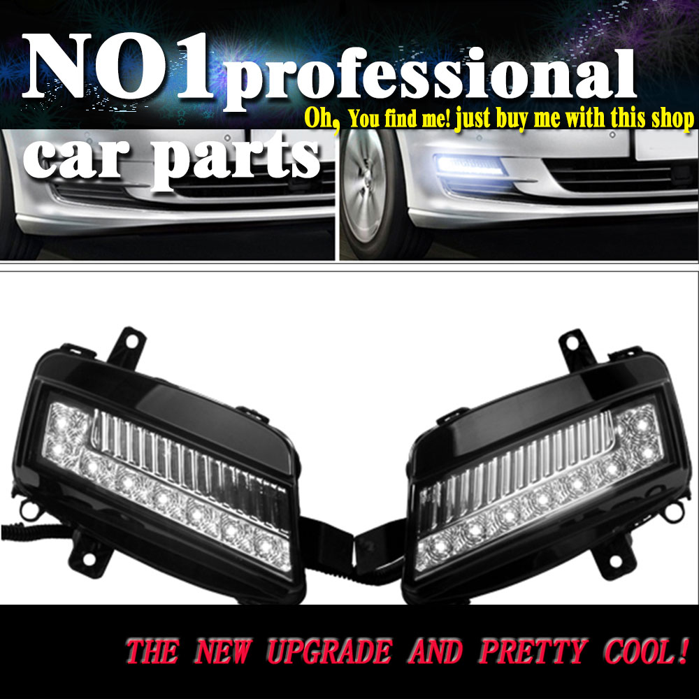 car styling 2013 2017 For Volkswagen VW Golf 7 LED DRL led fog lamps daytime running light High brightness guide LED DRL eouns led drl daytime running light fog lamp assembly for volkswagen vw golf7 mk7 led chips led bar version