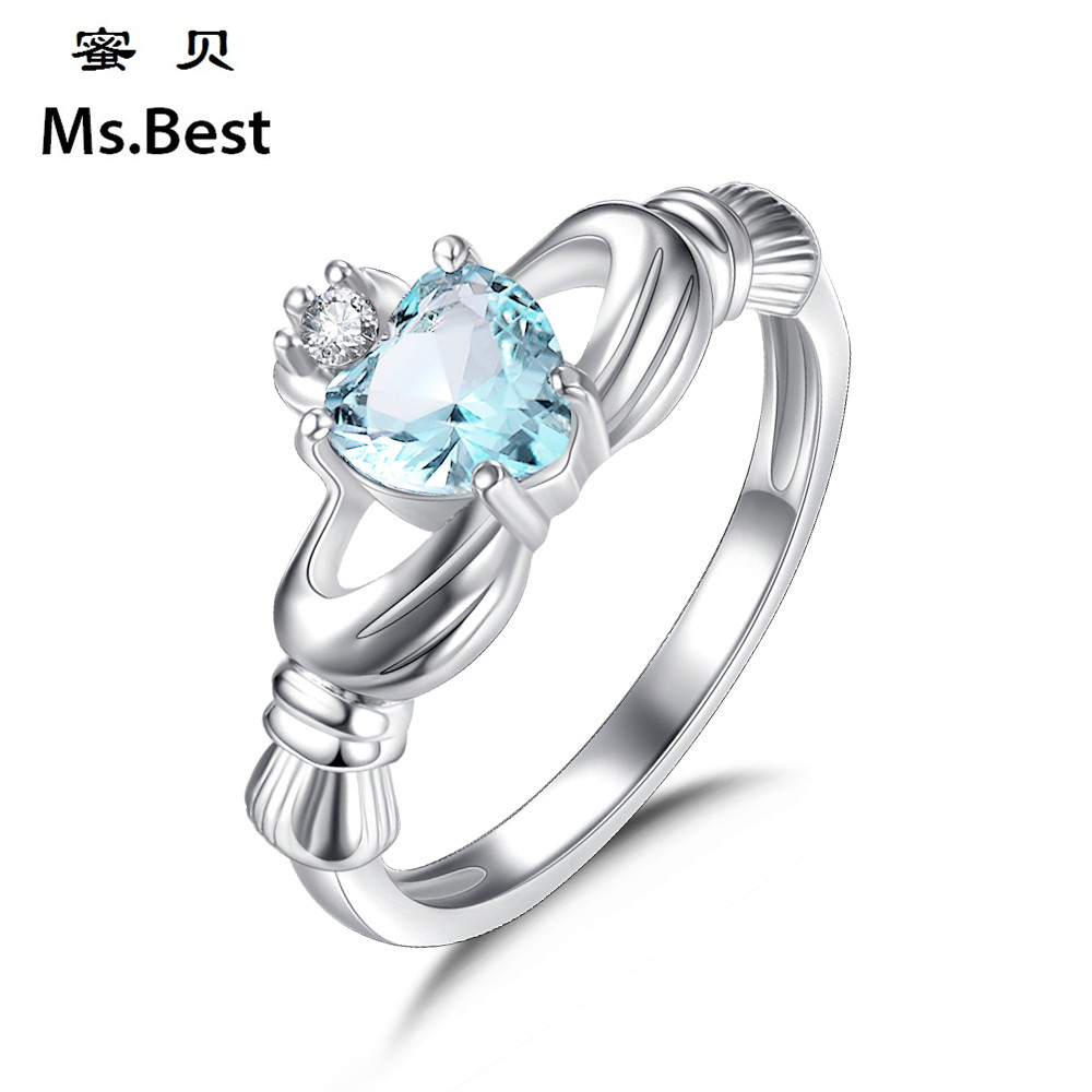 Irish Wedding Rings.Us 7 83 20 Off Solid 925 Sterling Silver Claddagh Rings For Women Heart Crown Jewellery Irish Wedding Ring Blue Birthstone Gifts Free Dropship In